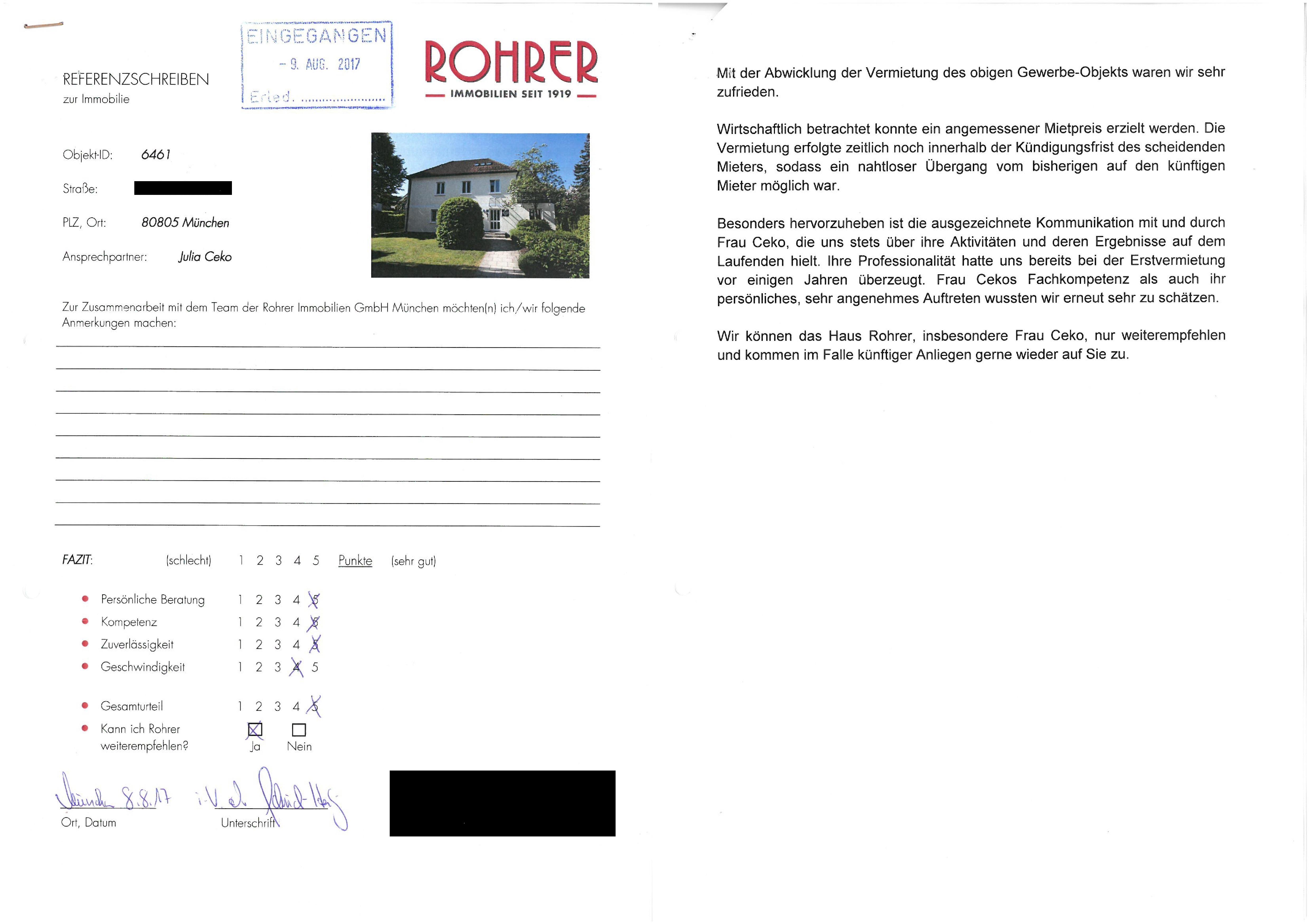 Referenzen ROHRER Immobilien München